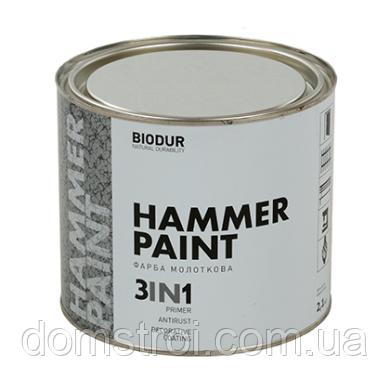 Краска молотковая Hammer Paint 3 in 1 Серебристо-серая 2,1 л., фото 2