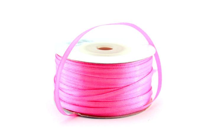 Ленточка атласная 3мм 91м розовая