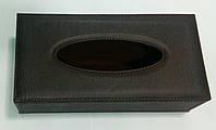 Кожаная замшевая коричневая коробка для салфеток 240*120*65 мм (шт)
