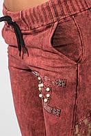 Брюки женские стильные с кружевом 428F001-2 (Бордовая варенка)