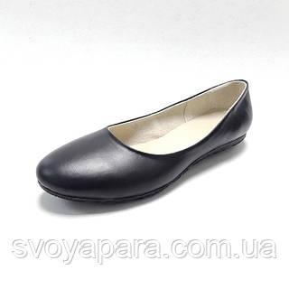 Балетки женские кожаные черного цвета на термопластичной подошве