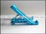 Синяя настольная пластиковая подставка трансформер для фиксации планшета, смартфона (просмотр видео), фото 2
