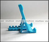 Синяя настольная пластиковая подставка трансформер для фиксации планшета, смартфона (просмотр видео), фото 3