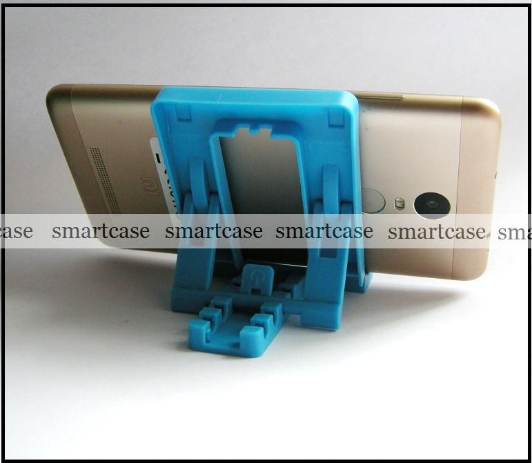 Синяя настольная пластиковая подставка трансформер для фиксации планшета, смартфона (просмотр видео)