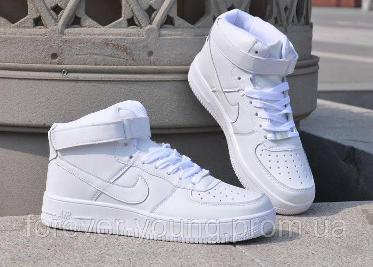 adecb4f0 Кроссовки унисекс Nike Air Force высокие белые копия - Интернет-магазин