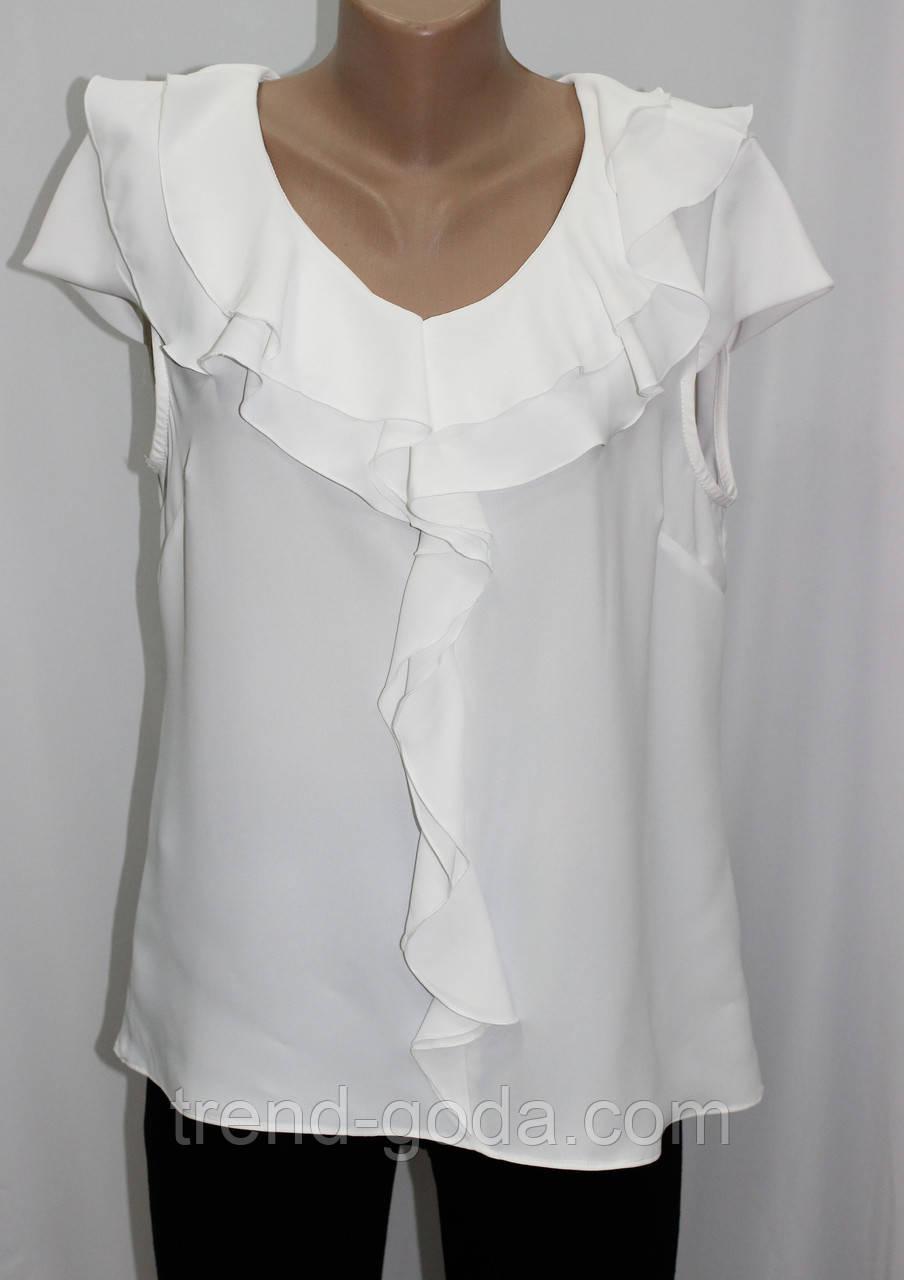 Блуза женская летняя, с воланами, белая, батальные размеры, Турция