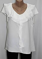 Блуза женская летняя, с воланами, белая, батальные размеры, Турция, фото 1