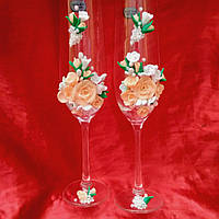 Бокалы свадебные персик