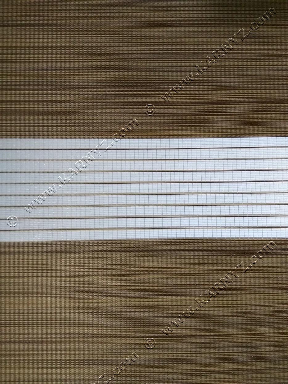 Рулонные шторы День-Ночь Вьюти натурал B-618 ореховый