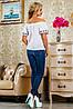 Хлопковая блуза с вышивкой и открытыми плечами (2225-2222-2228-2226-2227 svt), фото 4