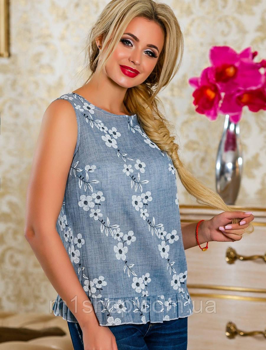 Летняя женская блуза из принтованного батиста (2229- 2230 svt)