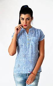 Блуза с принтом, цвет-голубой. Турция. разм.42-44