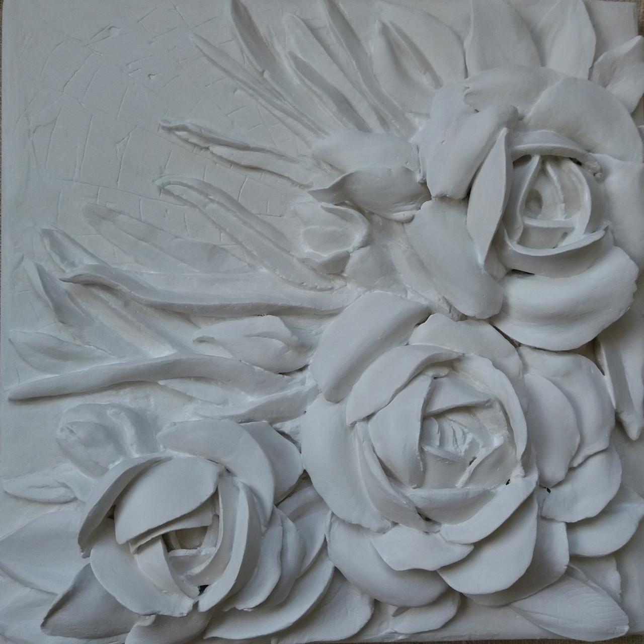 Панно барельеф Белые розы