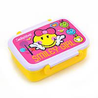 """Контейнер для їжі """"Smiley World""""(pink), 420 мл, з роздільником, фото 1"""
