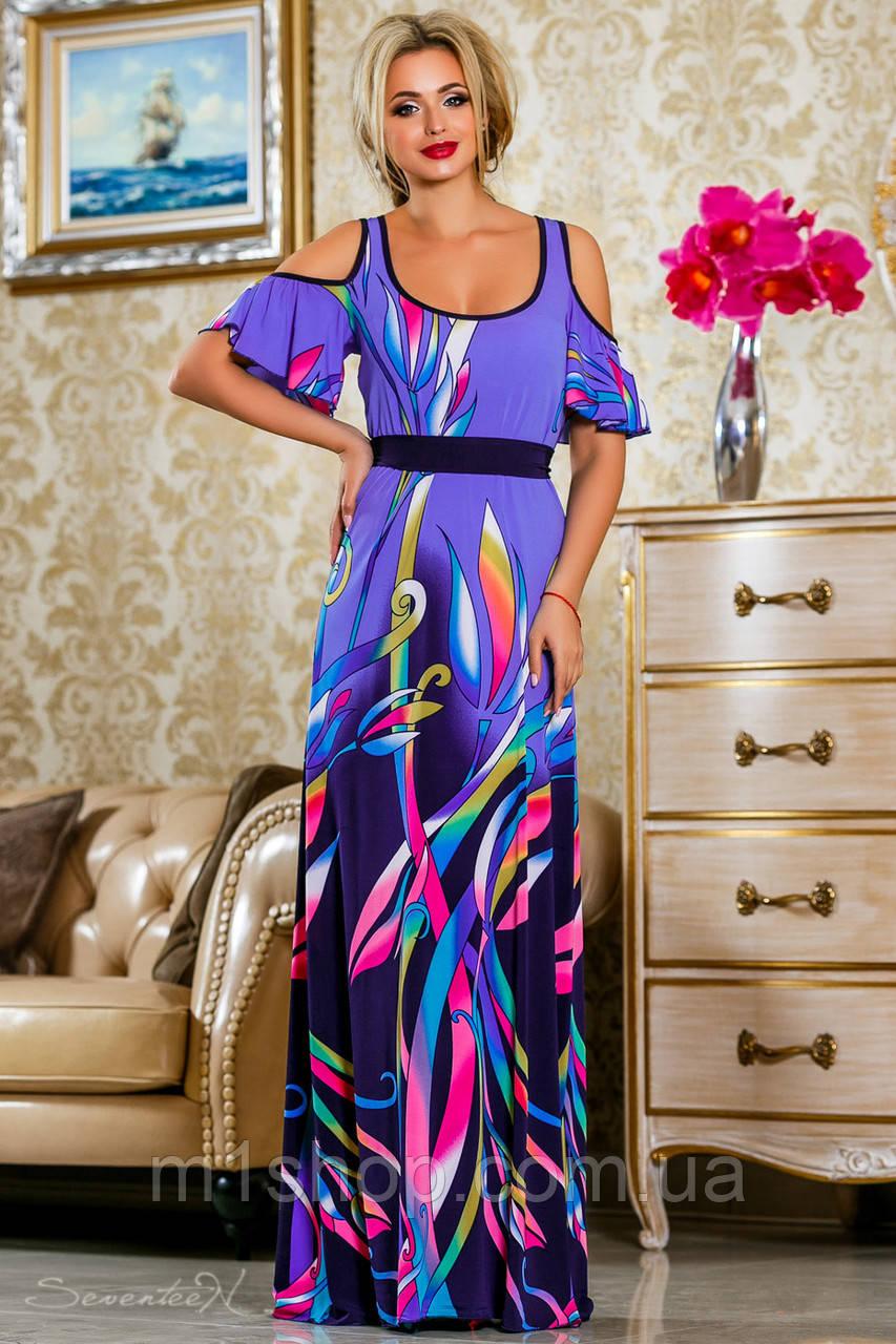 Яркое летнее платье в пол с принтом (2231-2232-2233 svt)