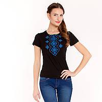 """Вышитая футболка """"Украинский орнамент"""" синяя, фото 1"""