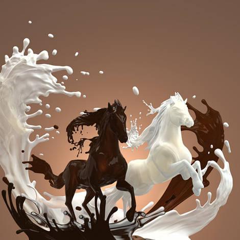 """3D фотообои """"Шоколад и лошади"""""""