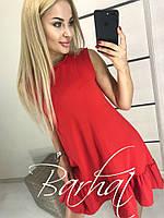 Женское короткое летнее платье-колокольчик, с рюшами, 42-44,44-46,красный, беж, бутылка, бордо