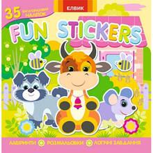 Fun stickers кн5 (35 багаторазових наліпок,розмал.,лабиринти,логічні завд) (у)