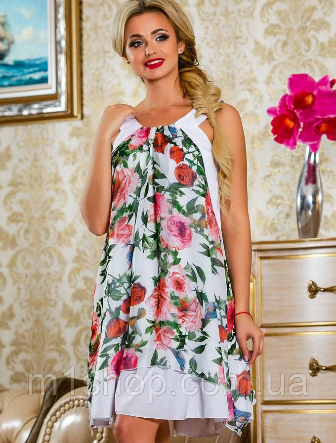 Женское летнее платье с цветами без рукавов (2240-2242 svt)