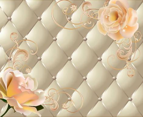 "3D фотообои ""Ромбики и розы"""