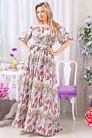 Женское летнее длинное платье из шелка, рукав фонарик
