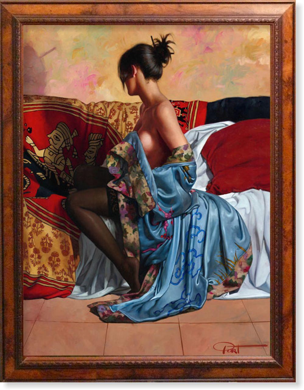 Репродукция  современной картины «Модель в голубом шёлке» 60 х 80 см