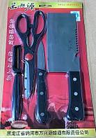 Набор кухонных принадлежностей 4пр/уп: Топор, нож, кухонные ножницы и экономка.