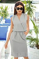 Платье женское деловое .Строгое платье-миди . Серого цвета ежедневное .