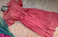 Платье Сафари с фатиновой юбкой 1810 корал  46-50р