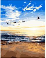 """Раскраска по номерам для взрослых и детей """"Утренний пляж"""", 40х50 см, Без Коробки"""
