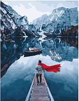 """Раскраска по номерам для взрослых и детей """"Озеро Лаго ди Брайес"""", 40х50 см, Без Коробки"""