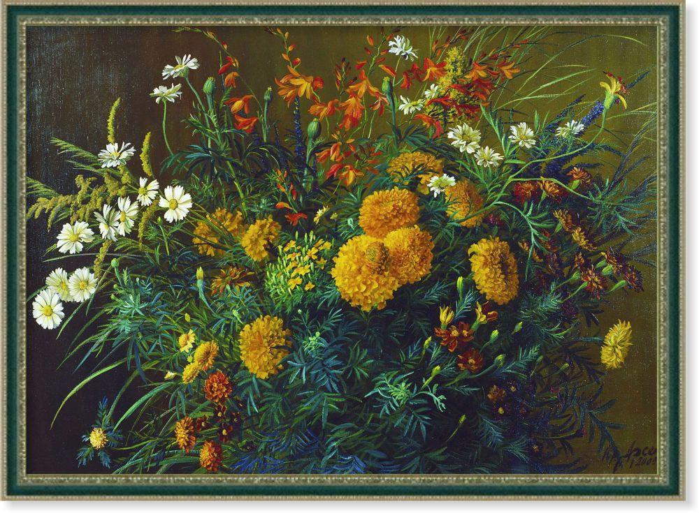 Репродукция картины современной  живописи «Натюрморт с полевыми цветами» 60 х 85 см