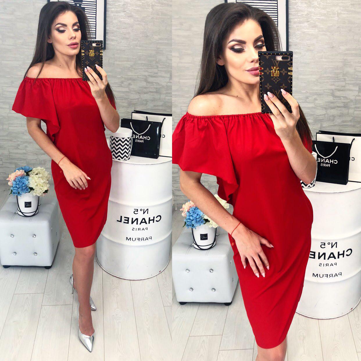Стильное платье, модель 114, цвет Красный