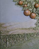 Картина-барельеф Пейзаж с апельсинами и виноградником