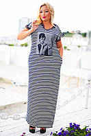 Летнее женское платье длиное трикотажное большого размера до 56-го в полоску