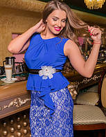 Нарядное и очень красивое платье большого размера 50-54  короткое до колена  синее