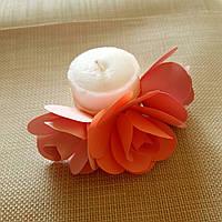 Свадебная свеча розовые розы ручной работы