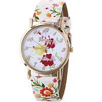 Часы наручные, Geneva, Ремешок: Цветы, Цветочный циферблат, Арабские цифры