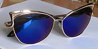 Очки солнцезащитные  золотистые с синими стеклами от студии LadyStyle.Biz