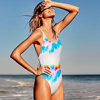 Цельный купальник Victoria's Secret белый с радужным принтом, фото 1