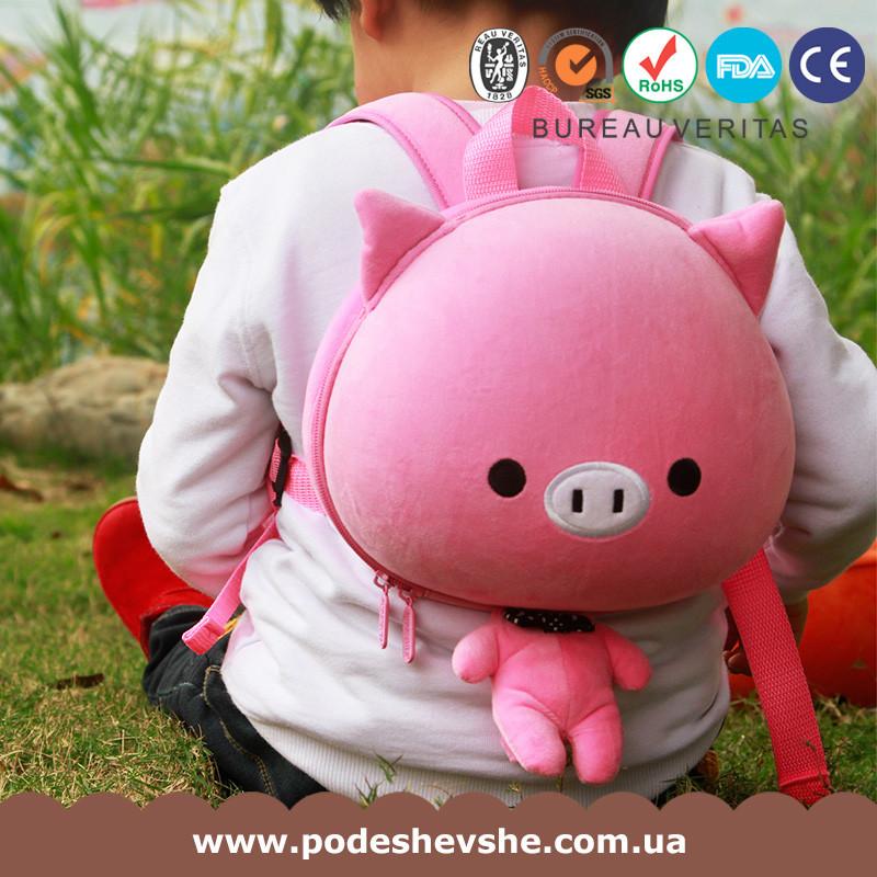 Детский рюкзак SUPERCUTE в виде свинки розовый