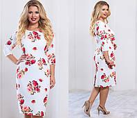Женское красивое платье большого размера с цветочным мотивом
