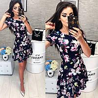 Платье короткое ,летнее, модель 103,  принт Розовые лилии на темно-синем  фоне