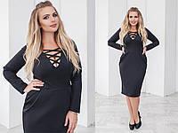 Женское оригинальное платье из плотного замша отличного качества больших размеров