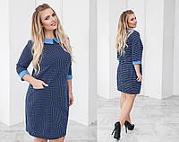 Женское стильное платье из фактурного трикотажа отличного качества больших размеров