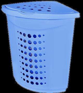 Корзина для белья 45л угловая голубая Алеана