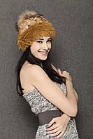 Теплая женская шапка с мехом кролика