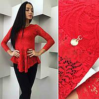 Очаровательная нарядная гипюровая  блузка цвет красный