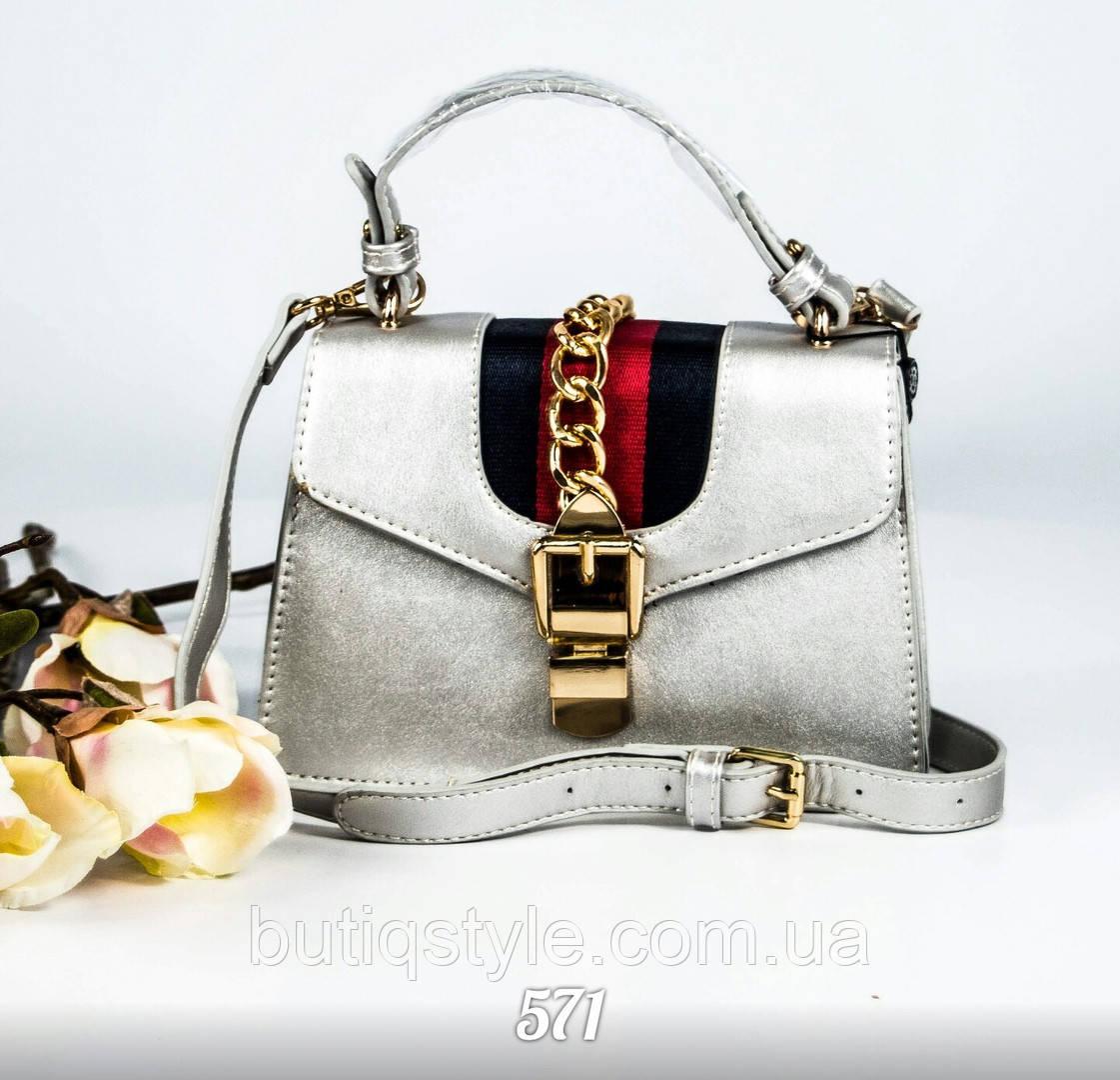 "Женская сумочка  ""G_cci ""  серебро,  PU-кожа"